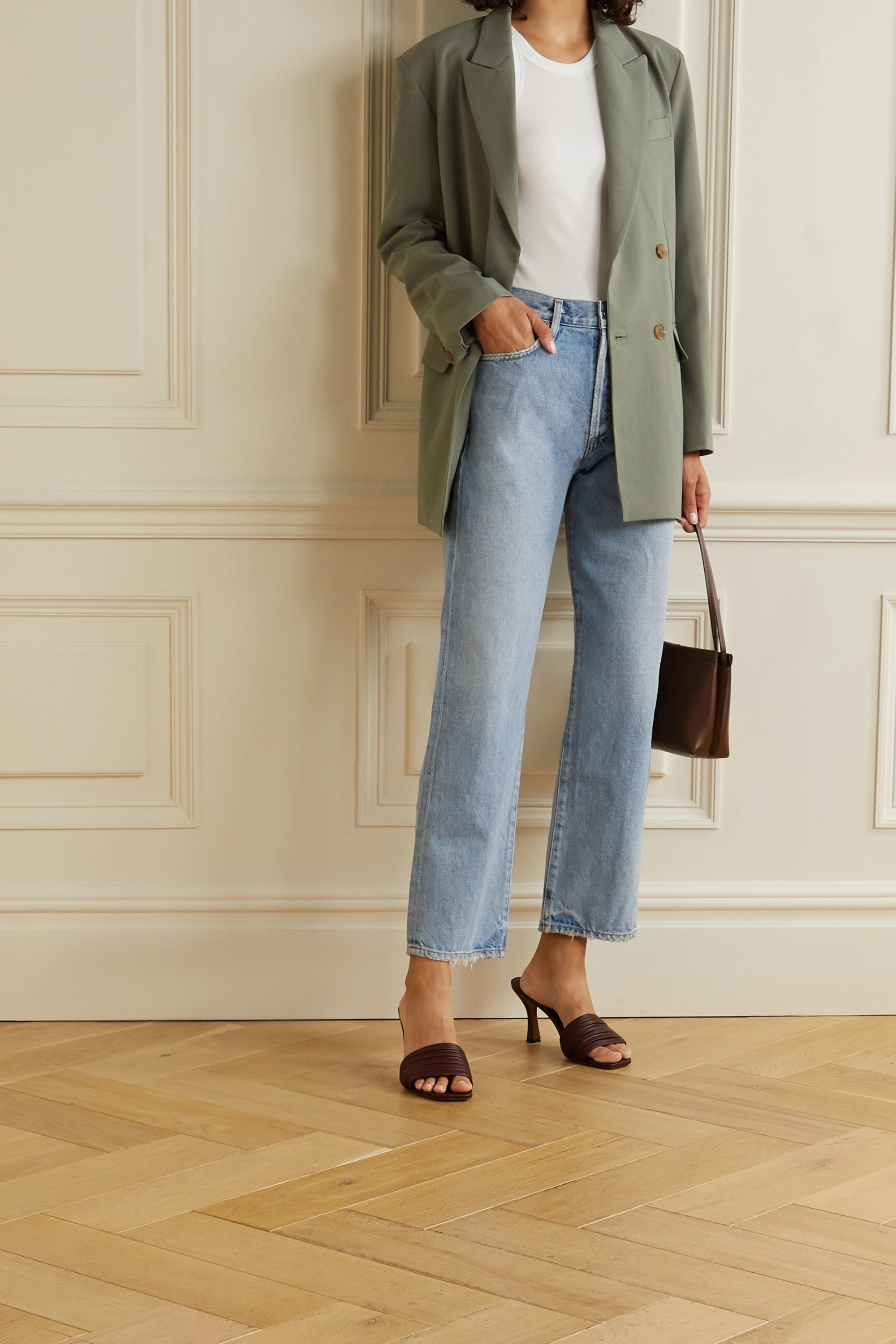 GOLDSIGN Jean droit taille haute effet vieilli The Relaxed