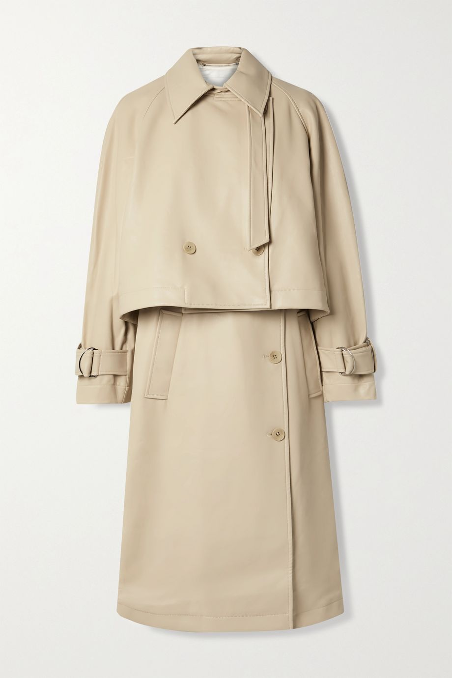 Tibi Convertible vegan leather trench coat
