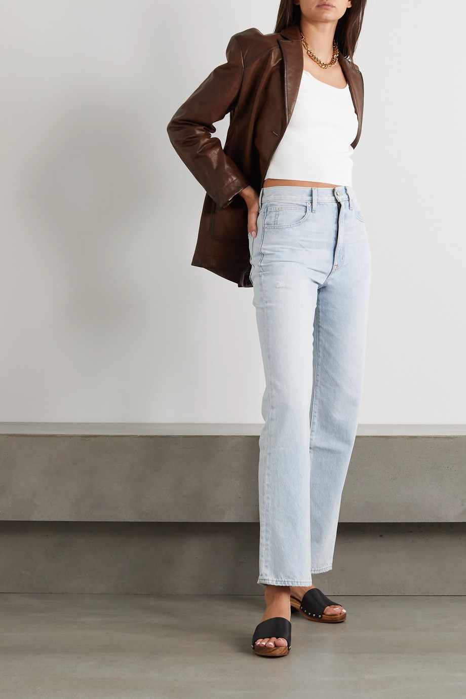 SLVRLAKE London distressed high-rise straight-leg jeans