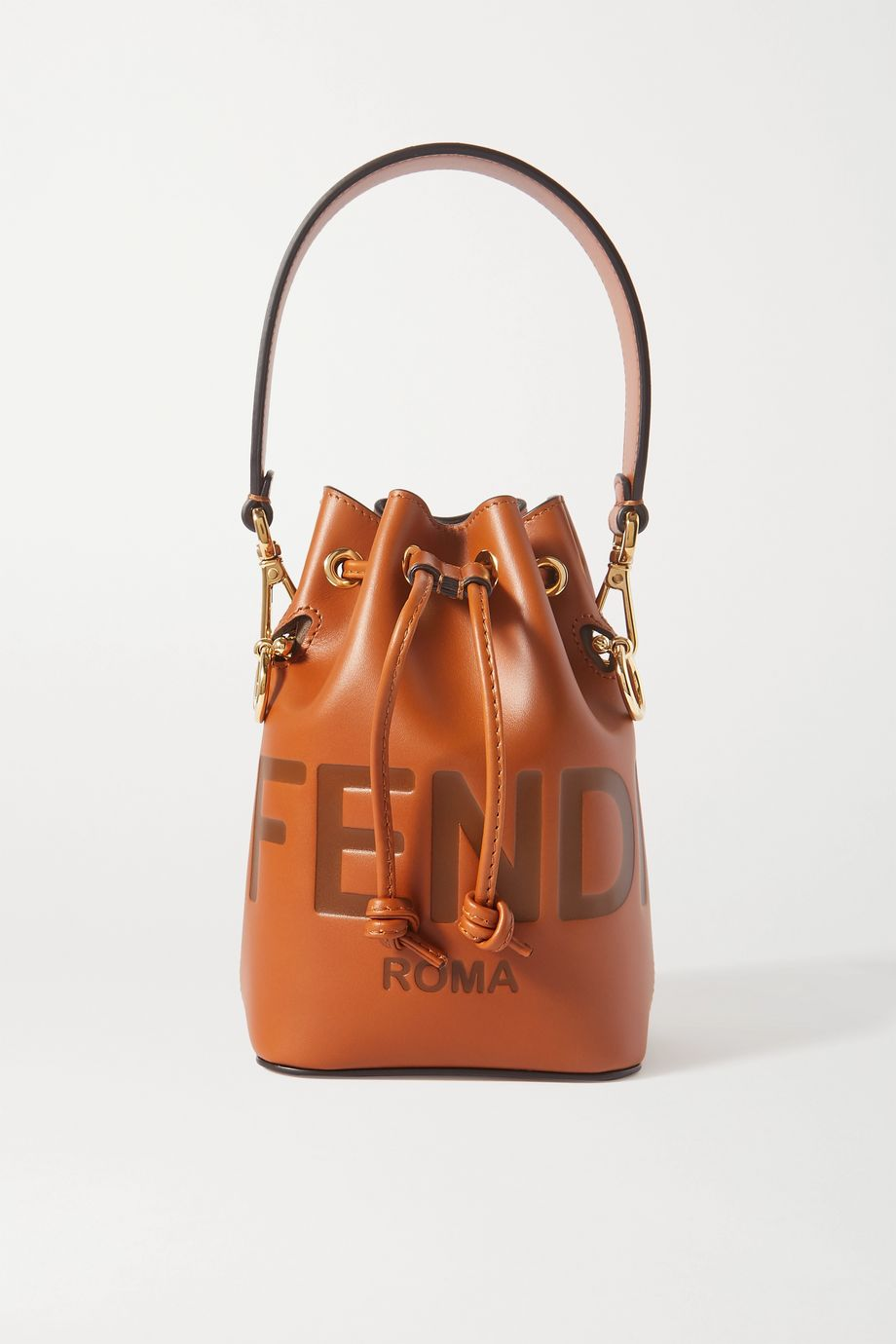 Fendi Mon Trésor mini debossed leather bucket bag
