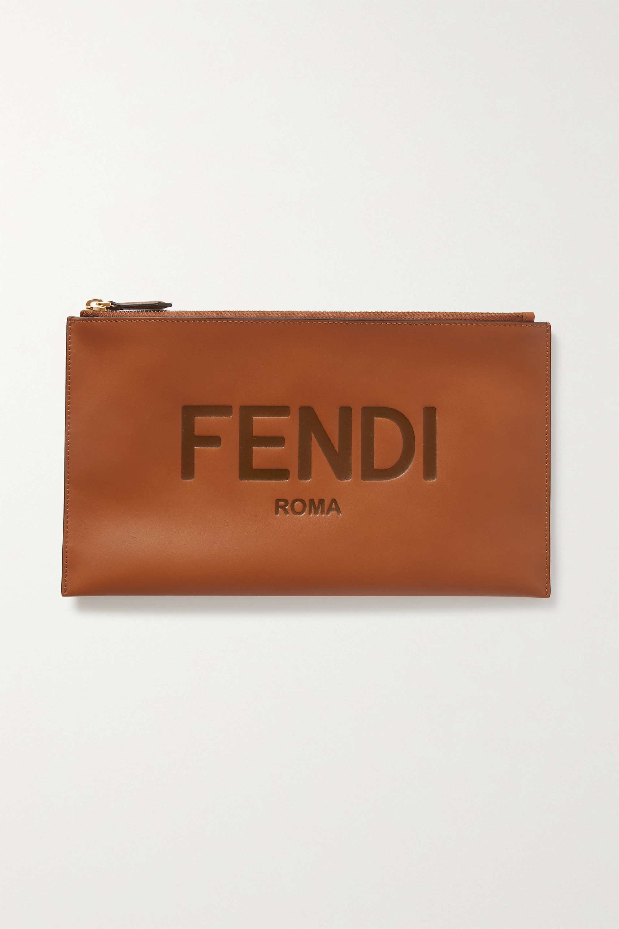 Fendi Debossed leather pouch