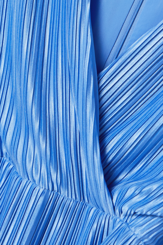 Alice + Olivia Katina belted wrap-effect plissé-satin midi dress