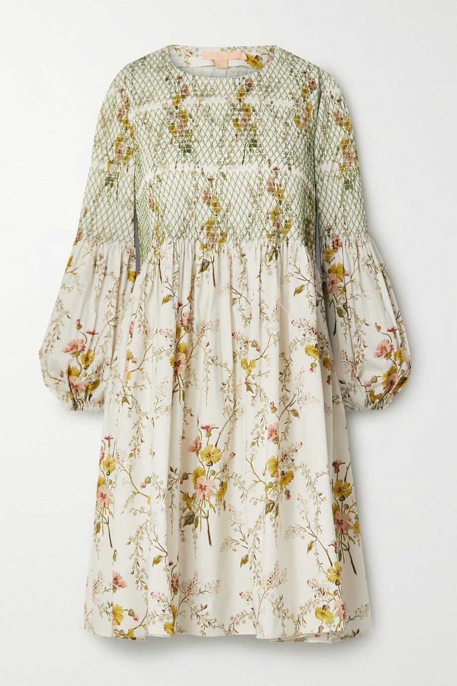Brock Collection Shirred floral-print cotton-blend poplin mini dress