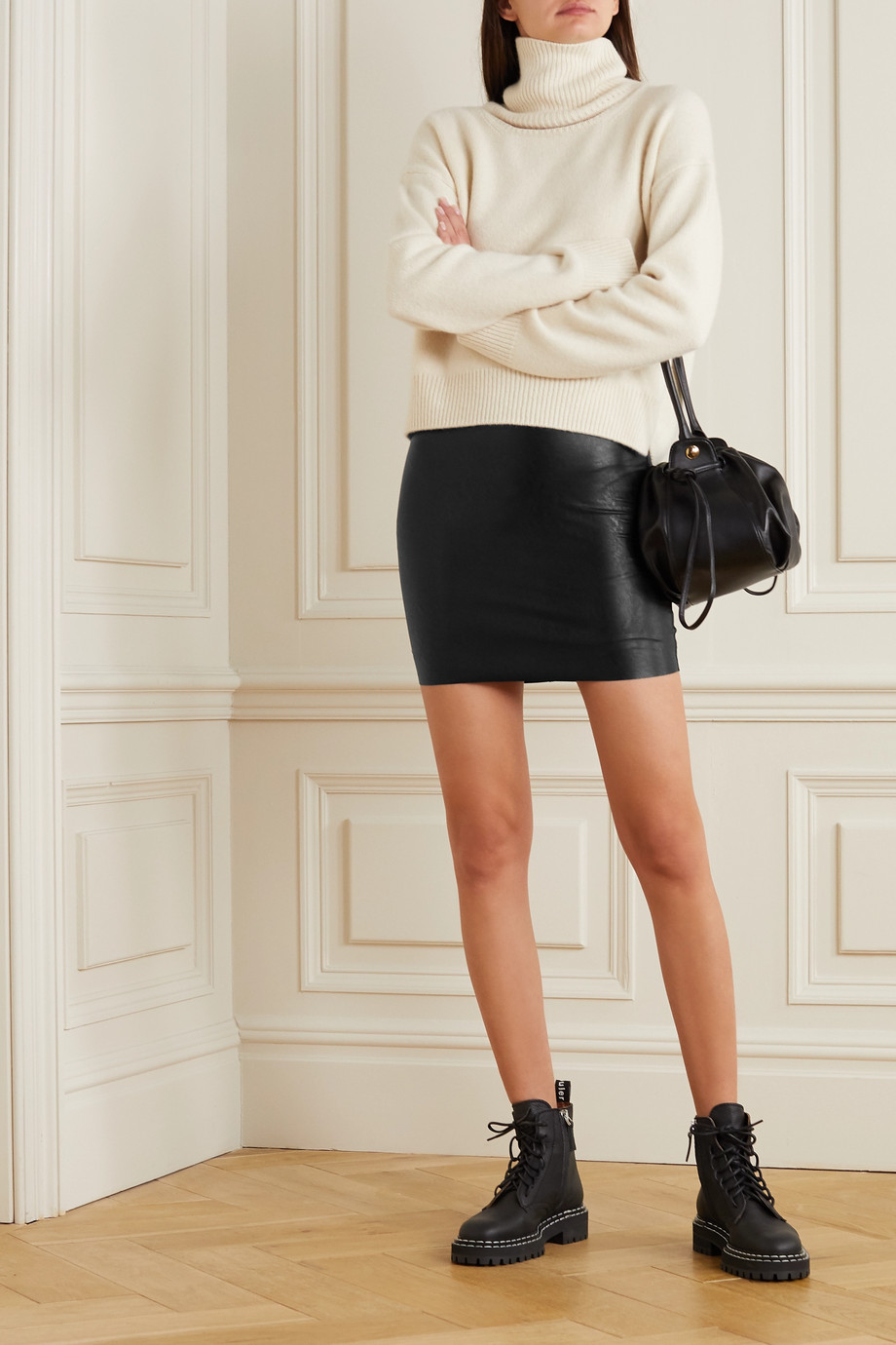 Commando Faux stretch-leather mini skirt