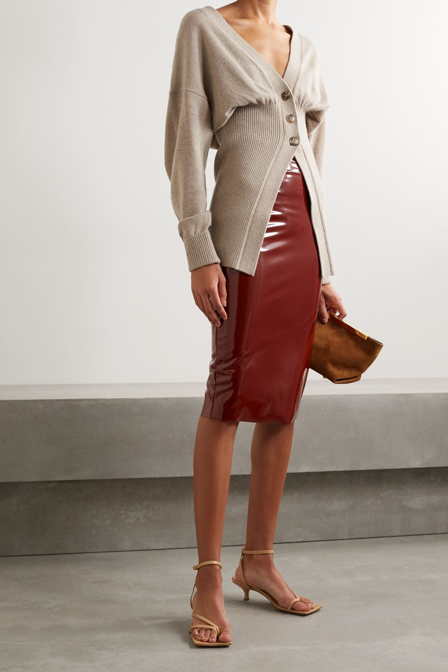 Commando Stretch faux patent-leather skirt