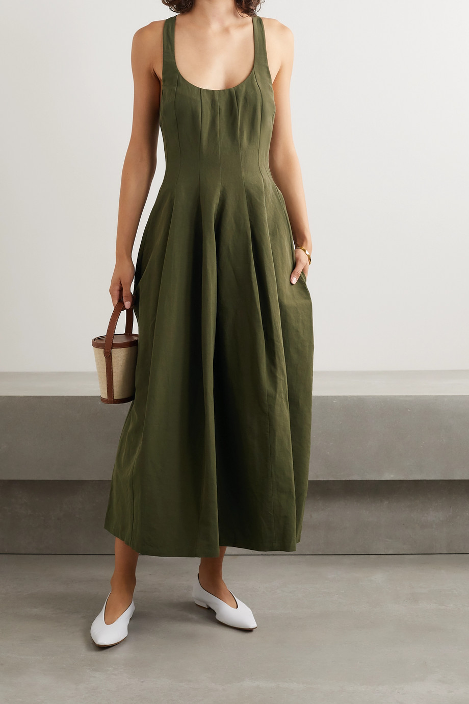Brock Collection Cotton, linen and silk-blend midi dress
