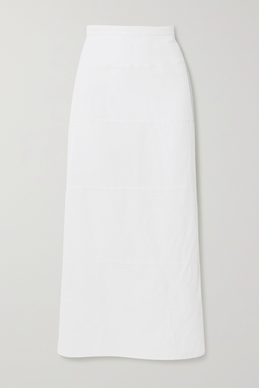 Brock Collection Paneled cotton and linen-blend poplin midi skirt