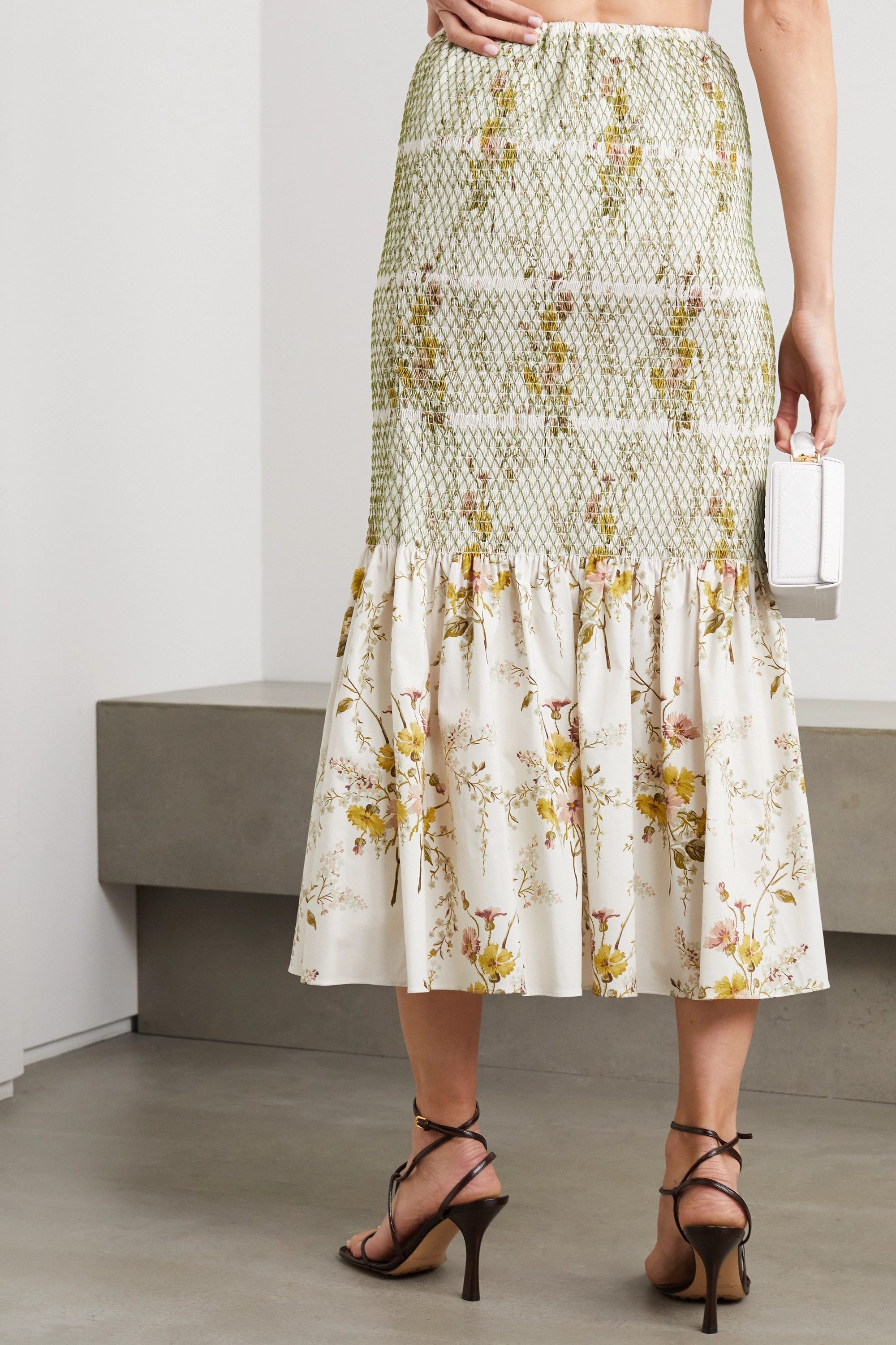 Brock Collection Shirred floral-print stretch-cotton midi skirt
