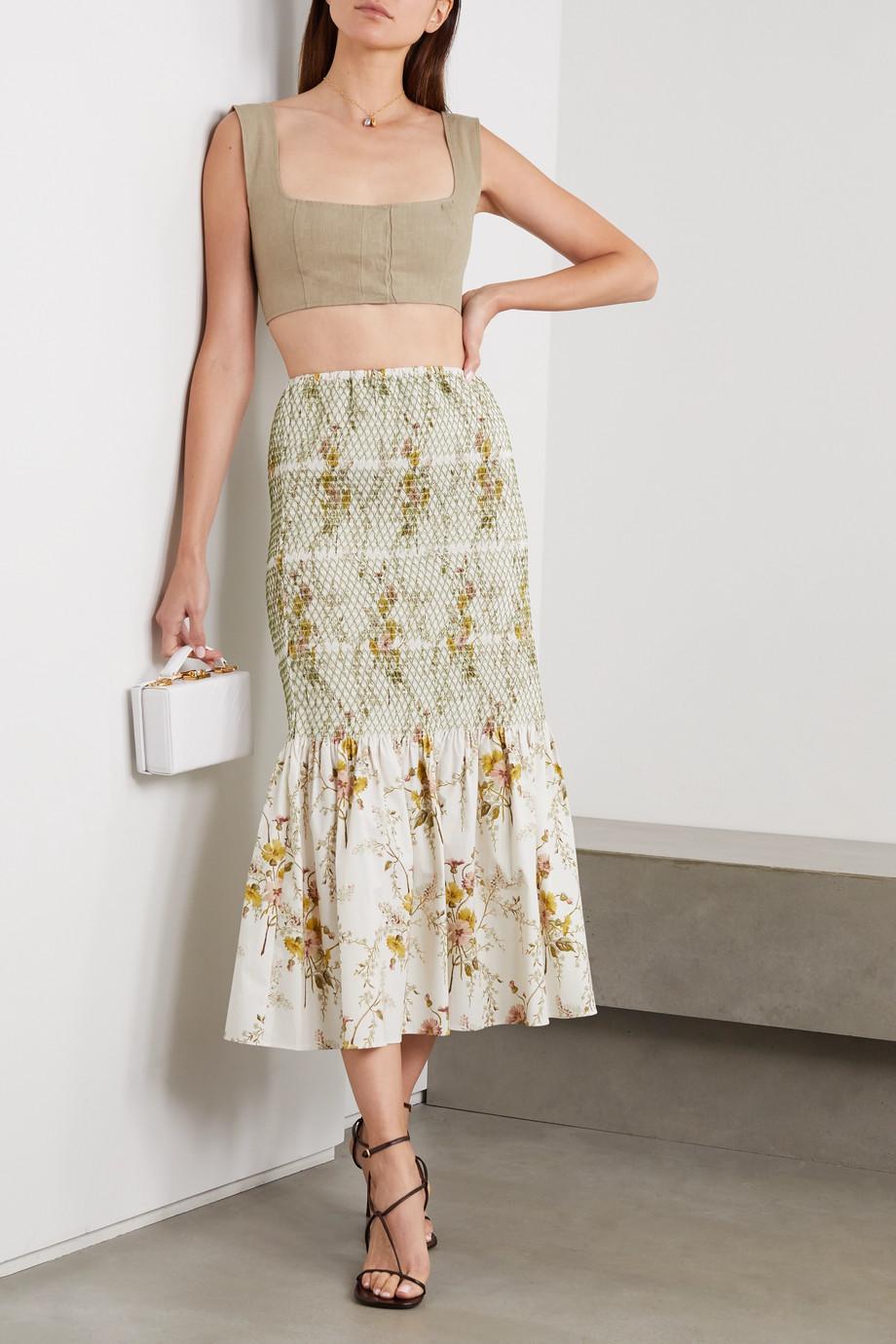 Brock Collection Geraffter Midirock aus Stretch-Baumwolle mit Blumenprint
