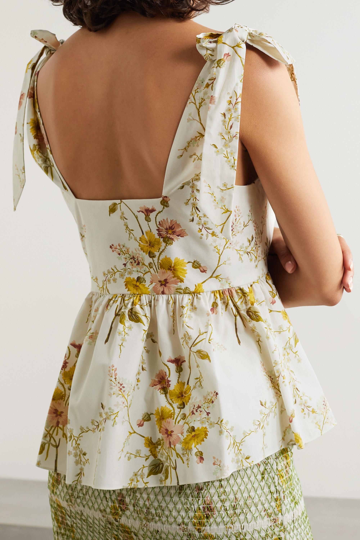 Brock Collection Floral-print cotton-blend poplin peplum top