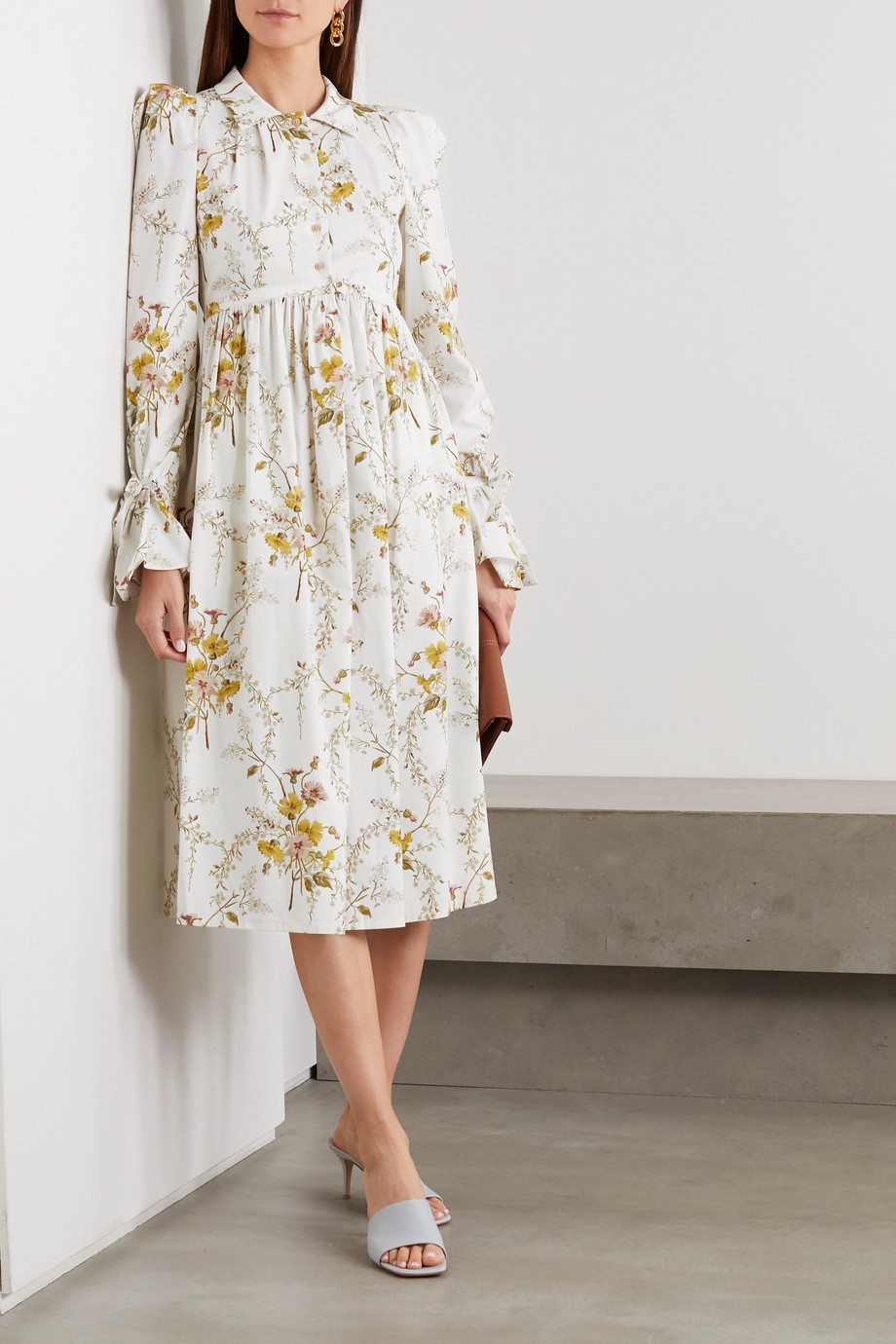 Brock Collection Kleid aus einer Baumwollmischung mit Blumenprint