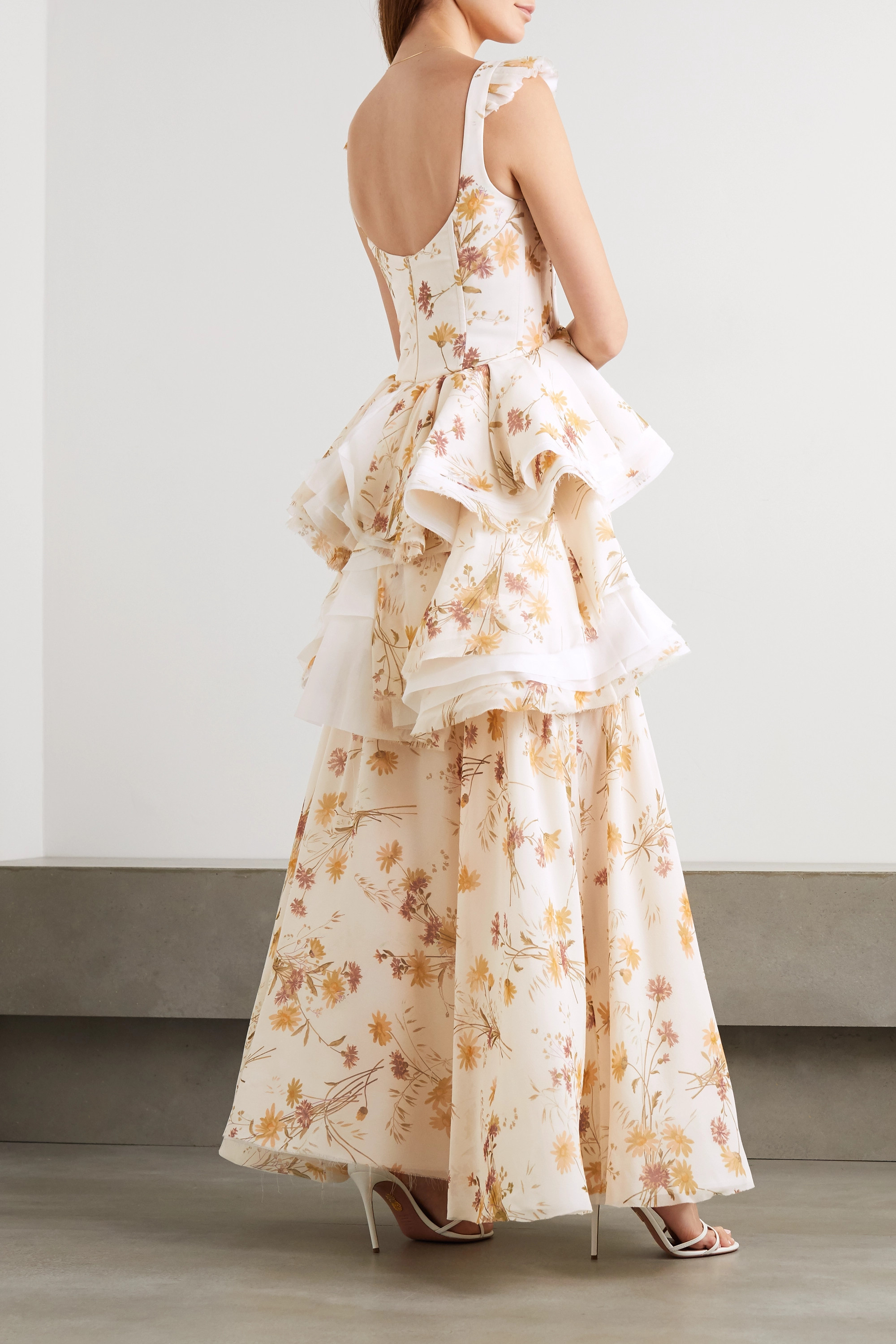 Brock Collection Ruffled frayed floral-print silk gown