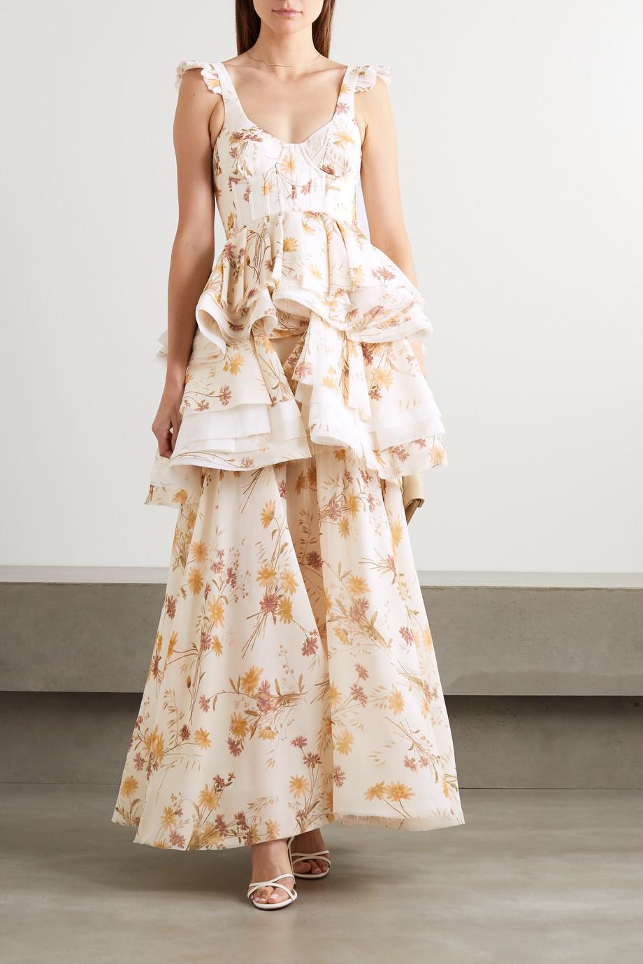 Brock Collection Robe aus Seide mit Blumenprint, Rüschen und Fransen
