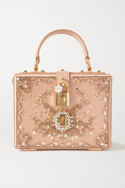 Dolce & Gabbana Crystal-embellished leather-trimmed satin tote