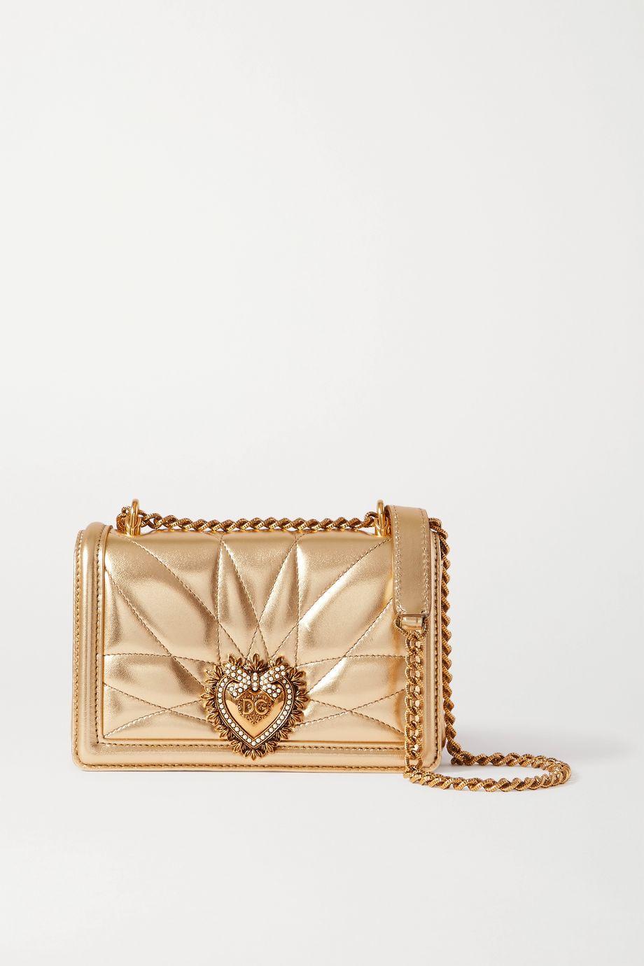 Dolce & Gabbana Devotion mini embellished quilted metallic leather shoulder bag