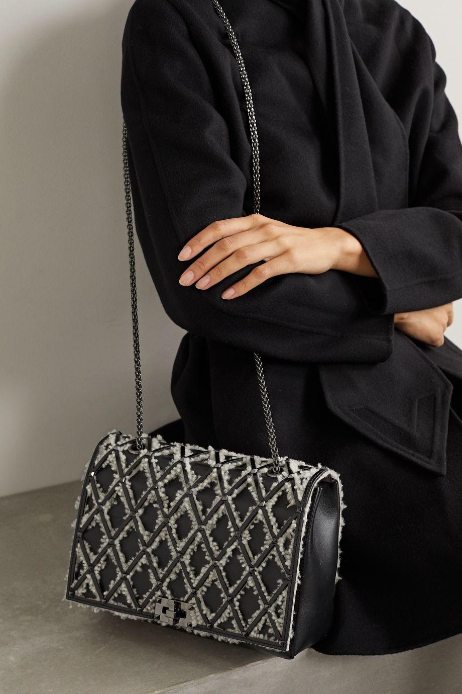 Valentino Valentino Garavani Beehive shearling-trimmed studded leather shoulder bag