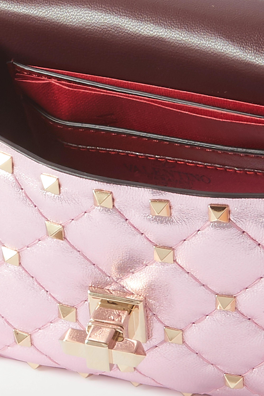 Valentino Valentino Garavani Rockstud Spike micro quilted metallic leather shoulder bag