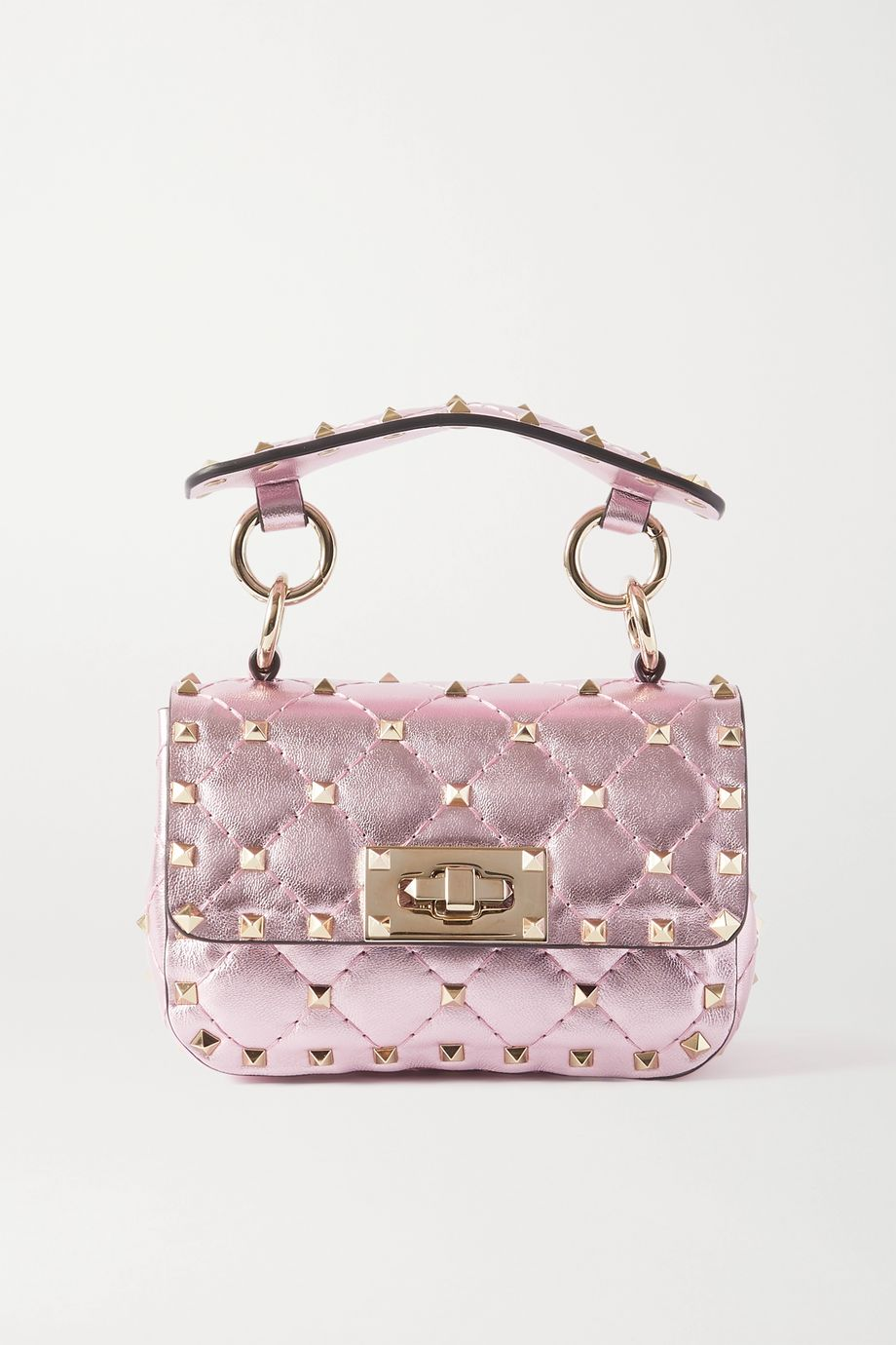Valentino Valentino Garavani Rockstud Spike micro quilted metallic leather shoulder bag
