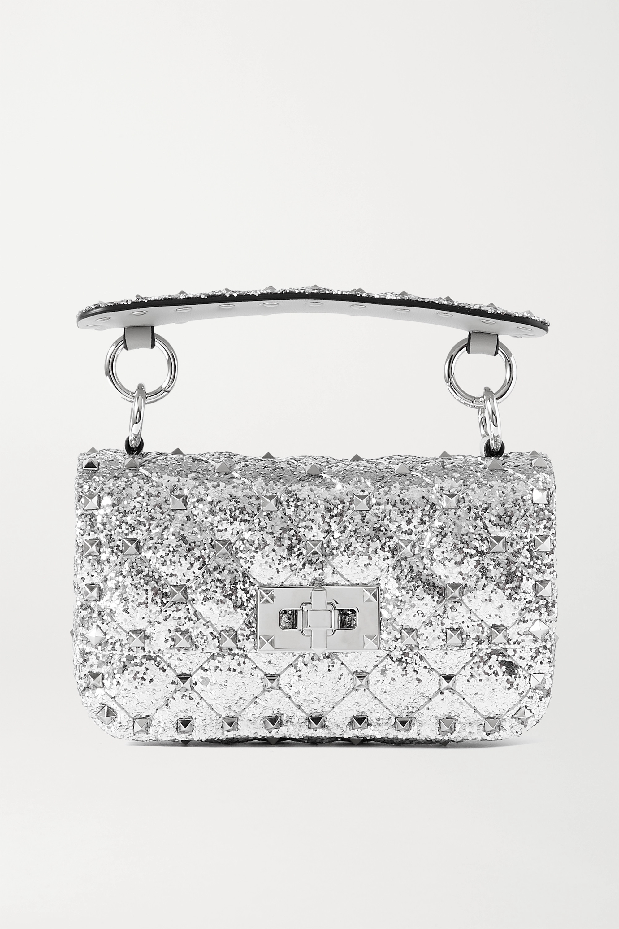 Valentino Valentino Garavani Rockstud Spike micro quilted glittered leather shoulder bag