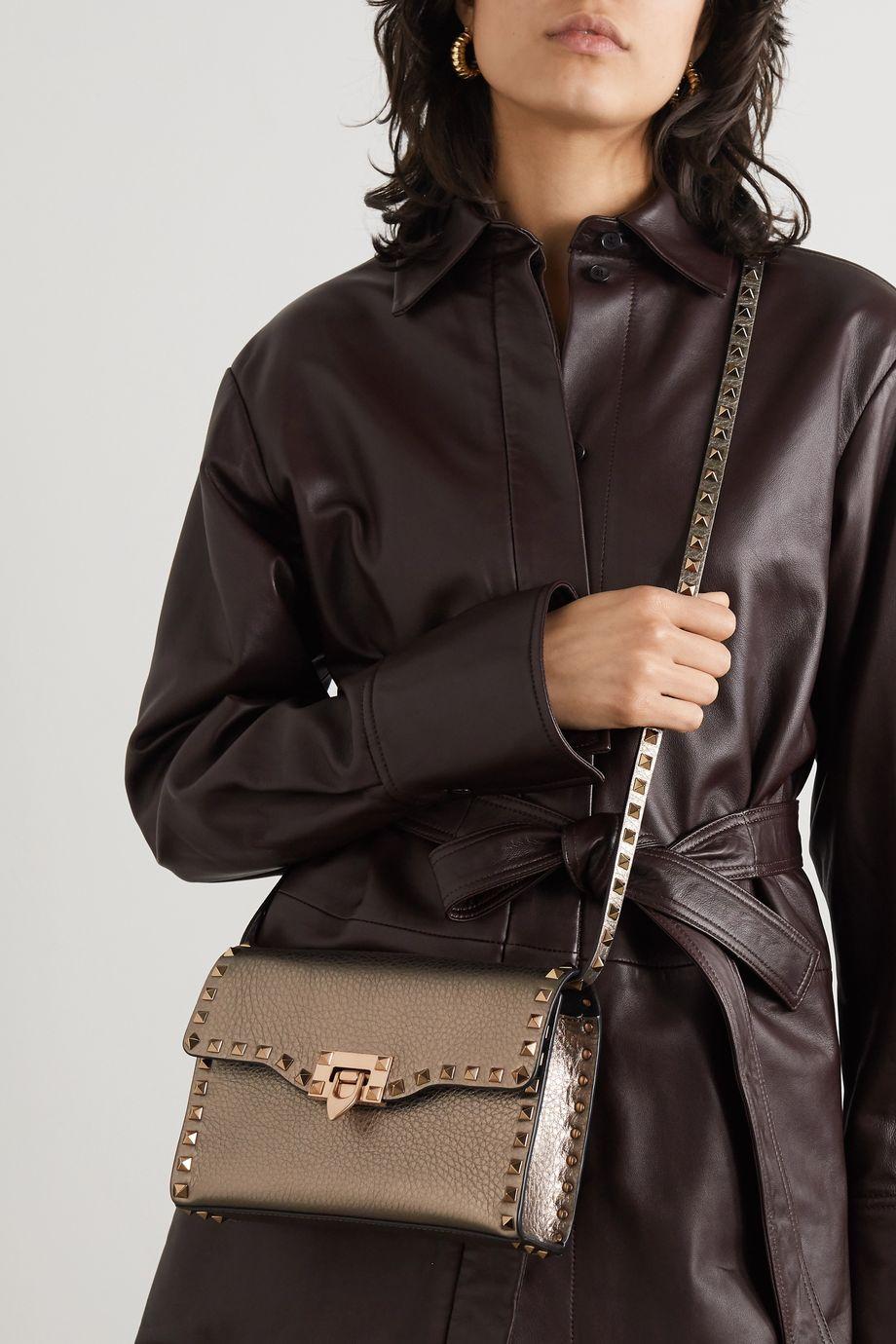 Valentino Sac porté épaule en cuir texturé métallisé Rockstud Valentino Garavani