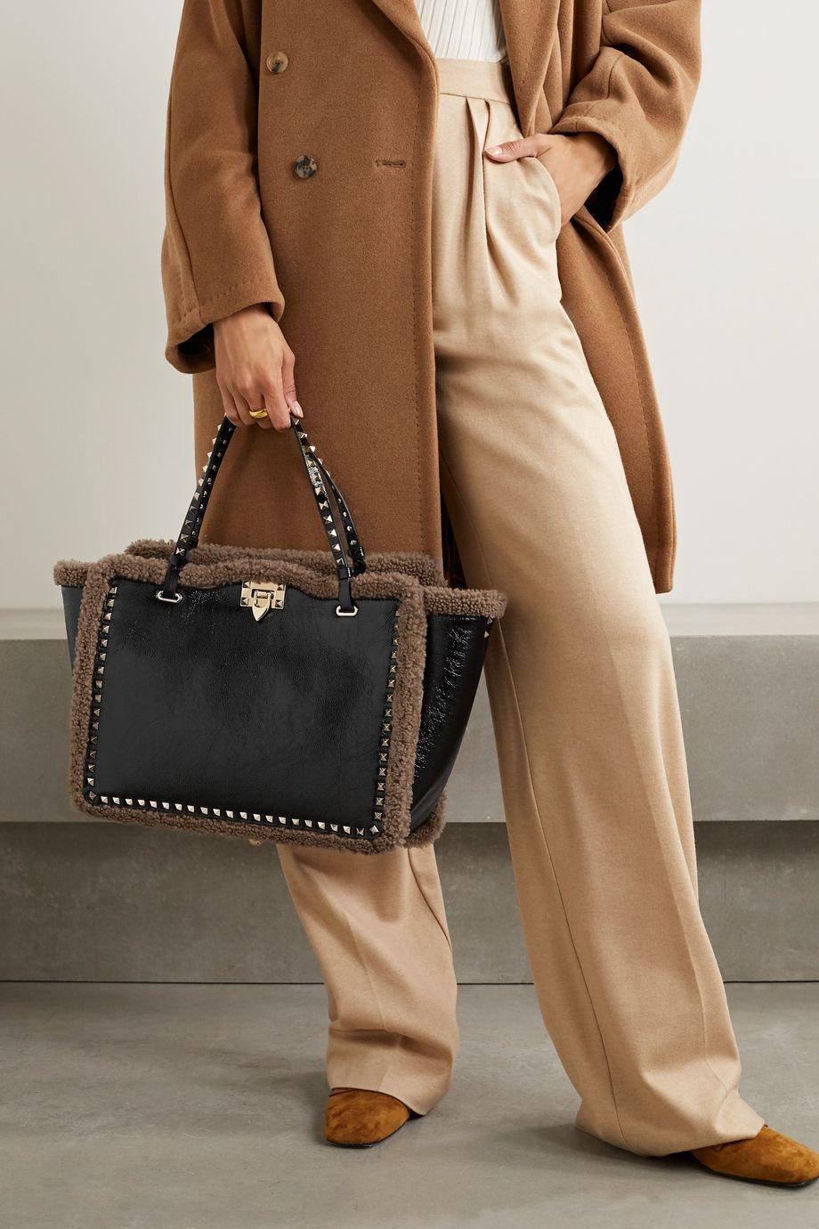 Valentino Valentino Garavani Rockstud shearling-trimmed crinkled-leather tote