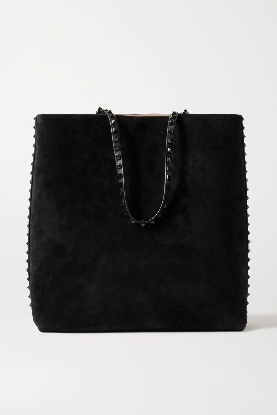 Valentino Valentino Garavani Rockstud suede and leather tote