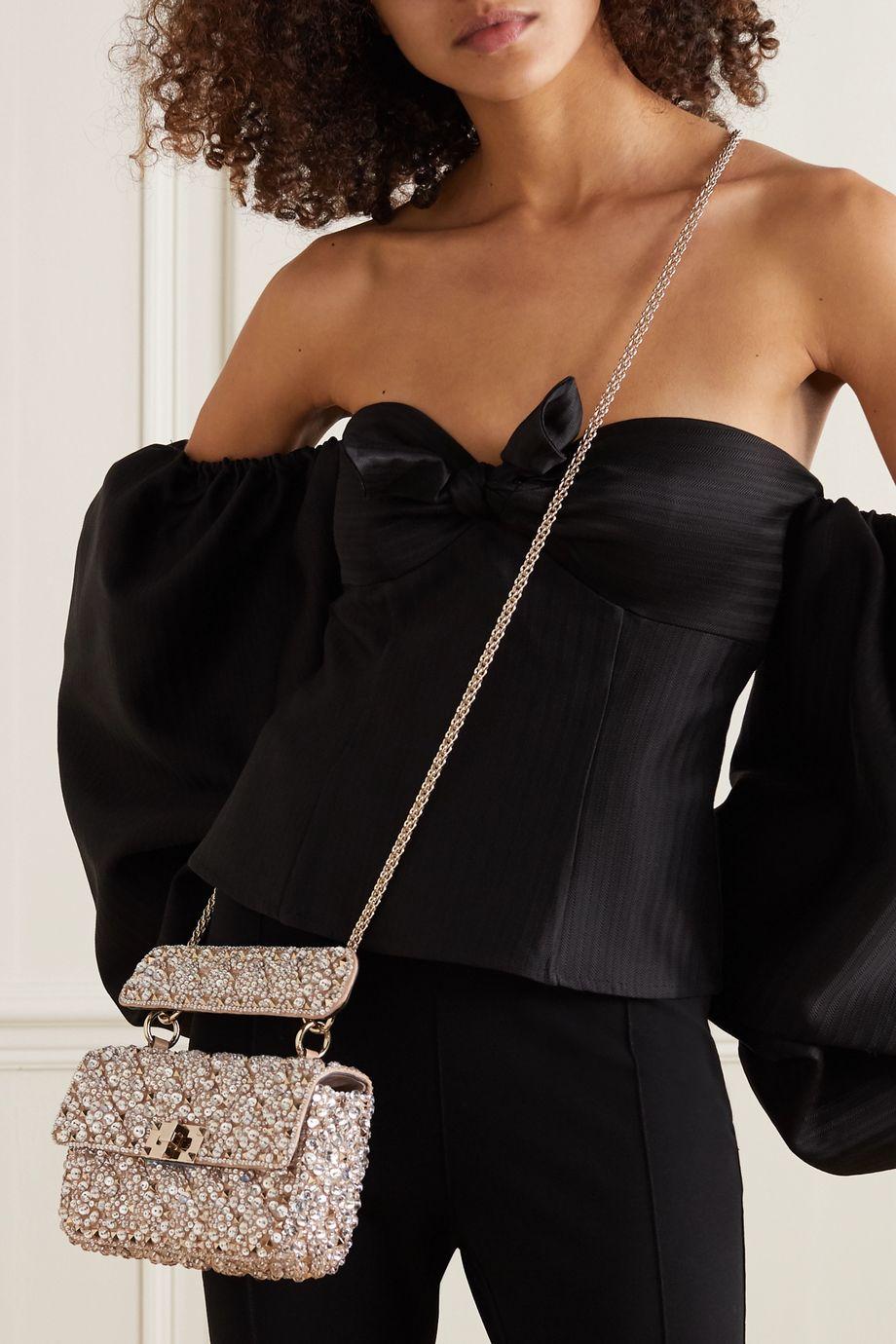 Valentino Valentino Garavani Rockstud Spike small embellished quilted satin shoulder bag