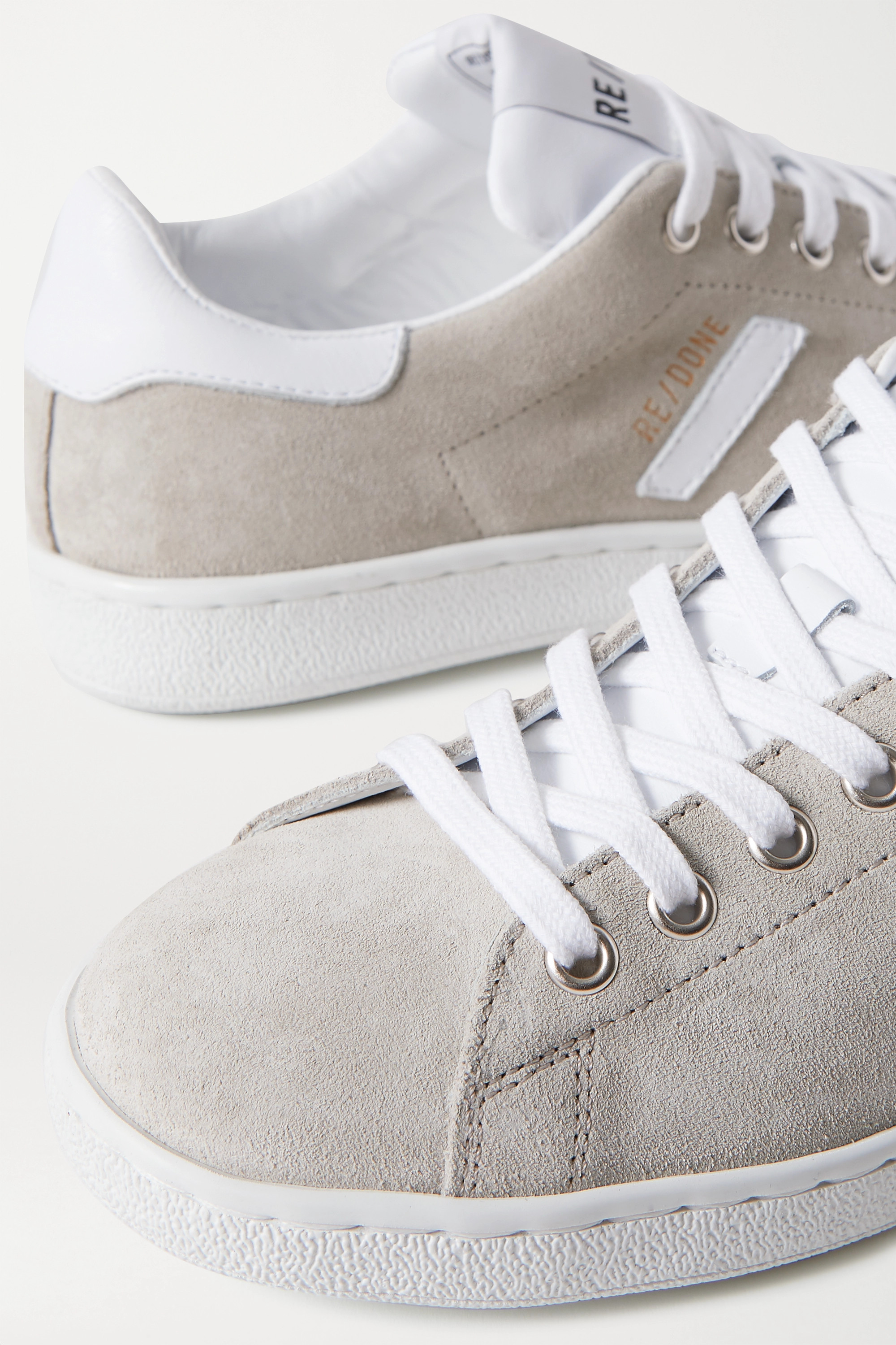 RE/DONE 70s Tennis leather-trimmed suede sneakers