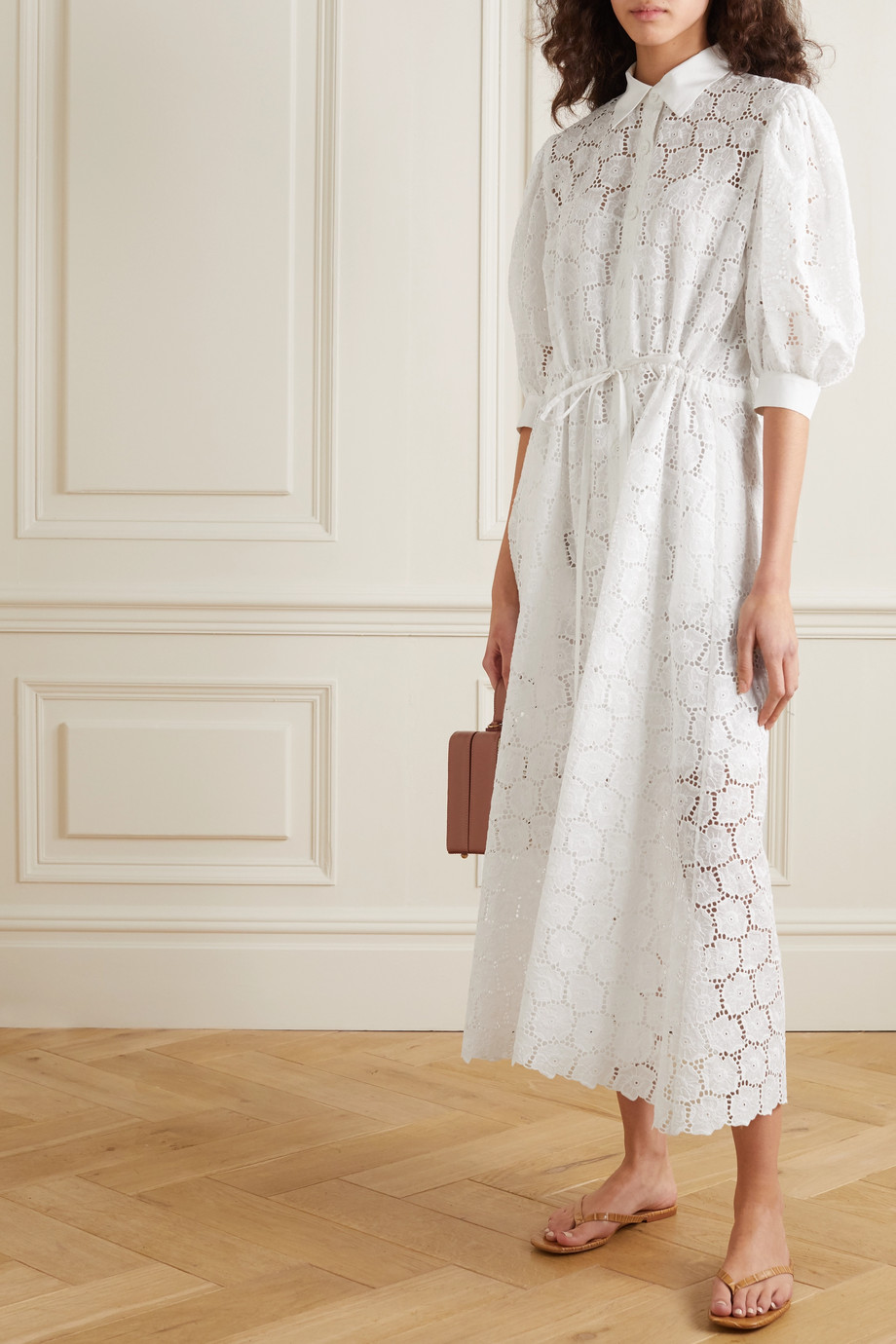 Evi Grintela Valerie Midi-Hemdblusenkleid aus Baumwolle mit Lochstickerei