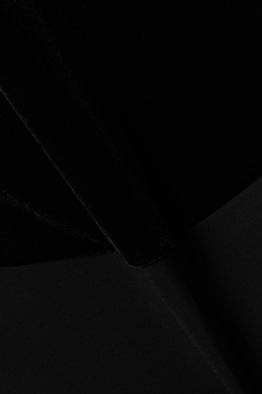 Commando One-shoulder velvet and stretch-jersey thong bodysuit