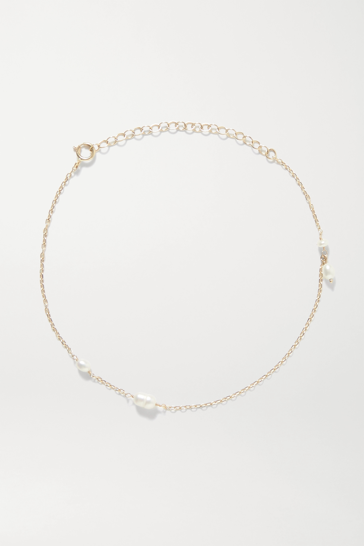 Wwake Spindle 14-karat gold pearl anklet