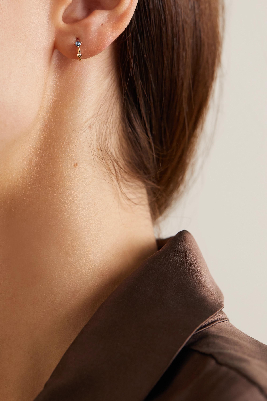 Wwake Okay Cool 10-karat gold, diamond and sapphire hoop earrings