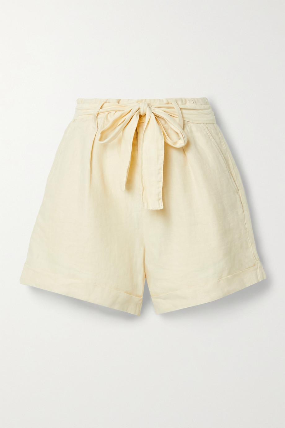 Alex Mill Avery 配腰带褶裥亚麻短裤
