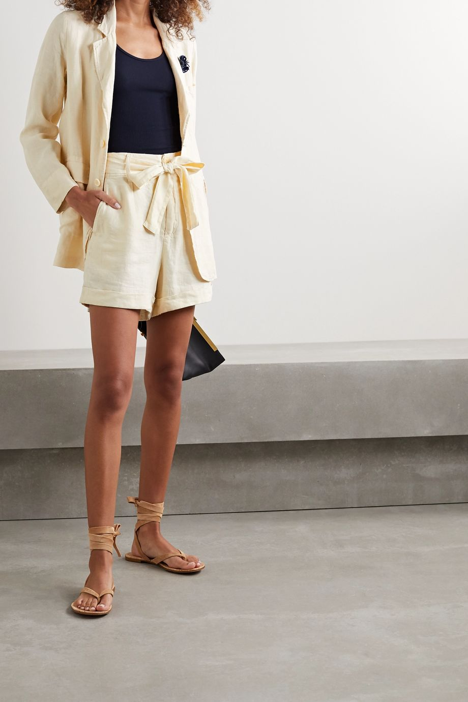 Alex Mill Avery belted pleated linen shorts
