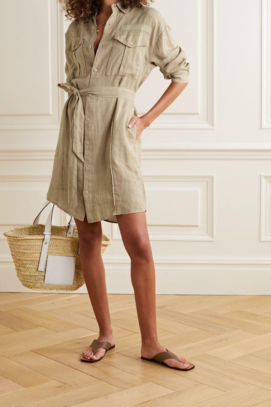 Alex Mill Keeper Mini-Hemdblusenkleid aus Leinen mit Gürtel