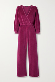 Suzie Kondi Wrap-effect cotton-blend velour jumpsuit