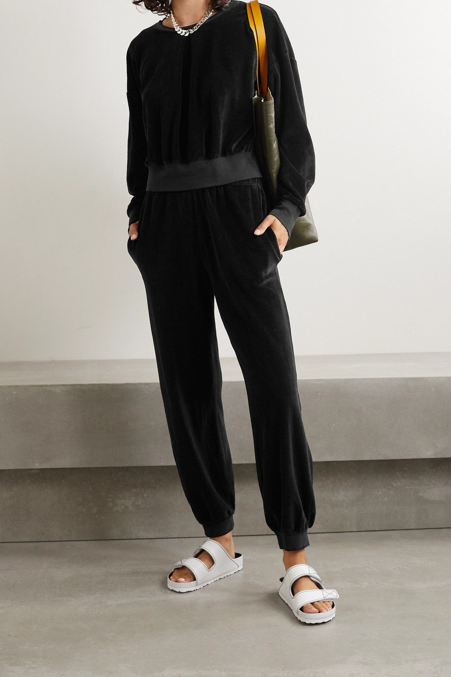 Suzie Kondi Pleated stretch cotton-blend velour sweatshirt