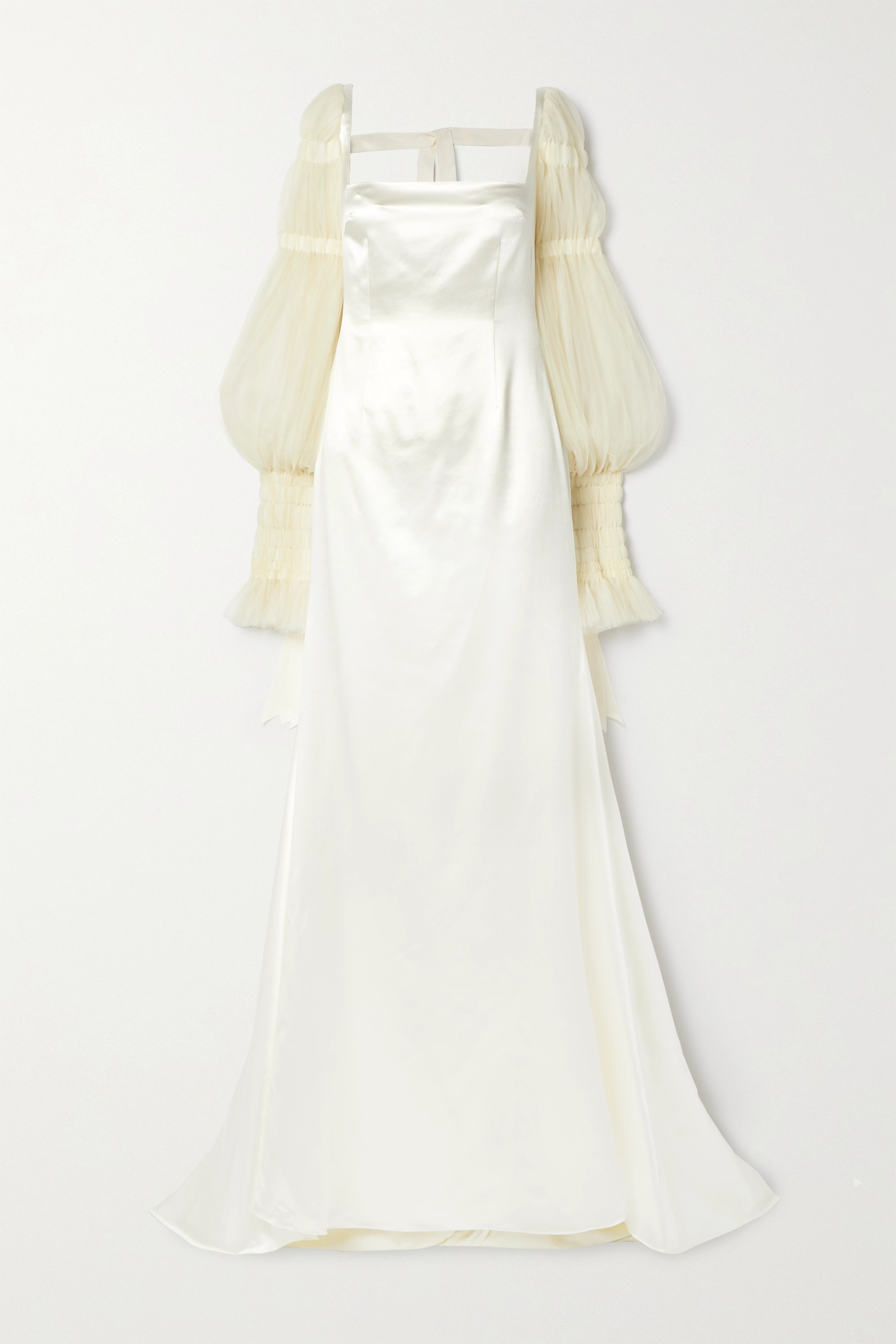 Danielle Frankel Ruby Tulle-trimmed Wool And Silk-blend Satin Gown In Ivory