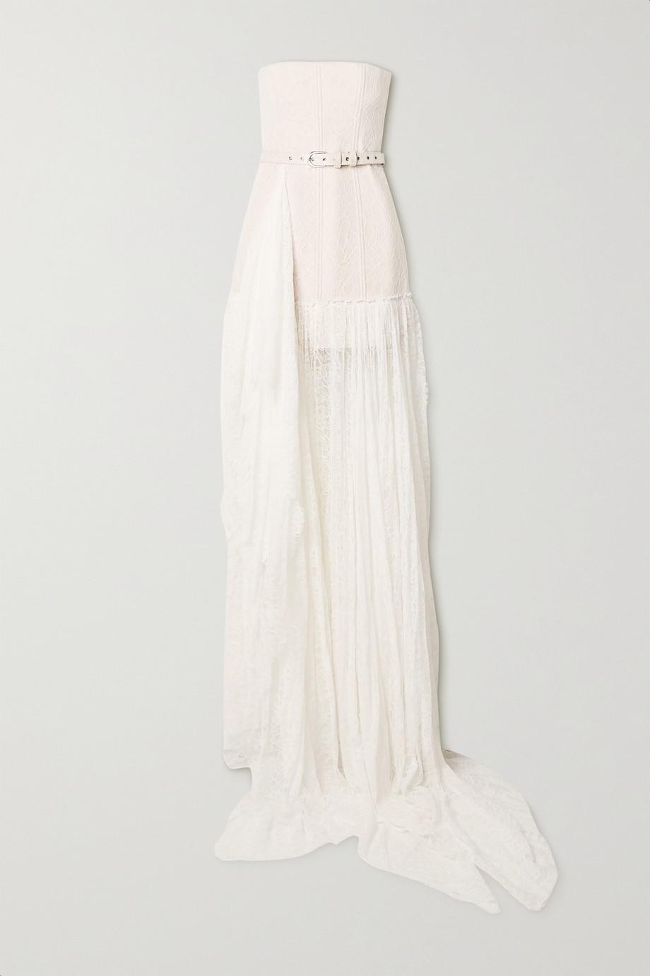 Danielle Frankel Delphine trägerlose Robe aus schnurgebundener Spitze mit Gürtel