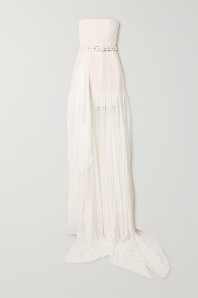 Danielle Frankel Delphine Strapless Belted Corded Lace Gown In White