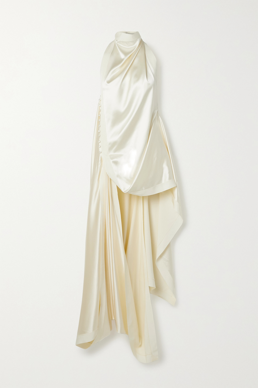 Danielle Frankel Maude Draped Silk-satin Halterneck Top In Ivory