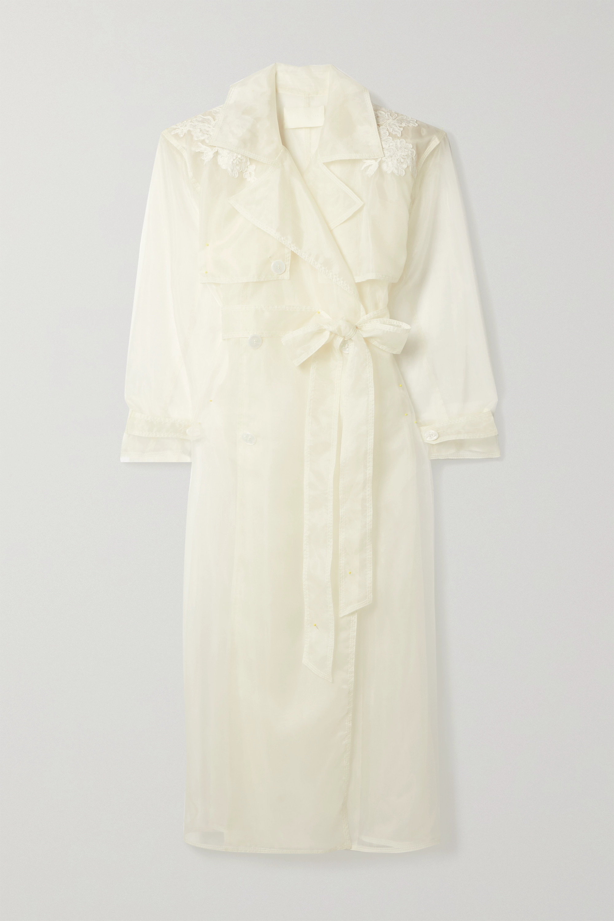 Danielle Frankel Allegra corded lace-trimmed organza and tulle trench coat