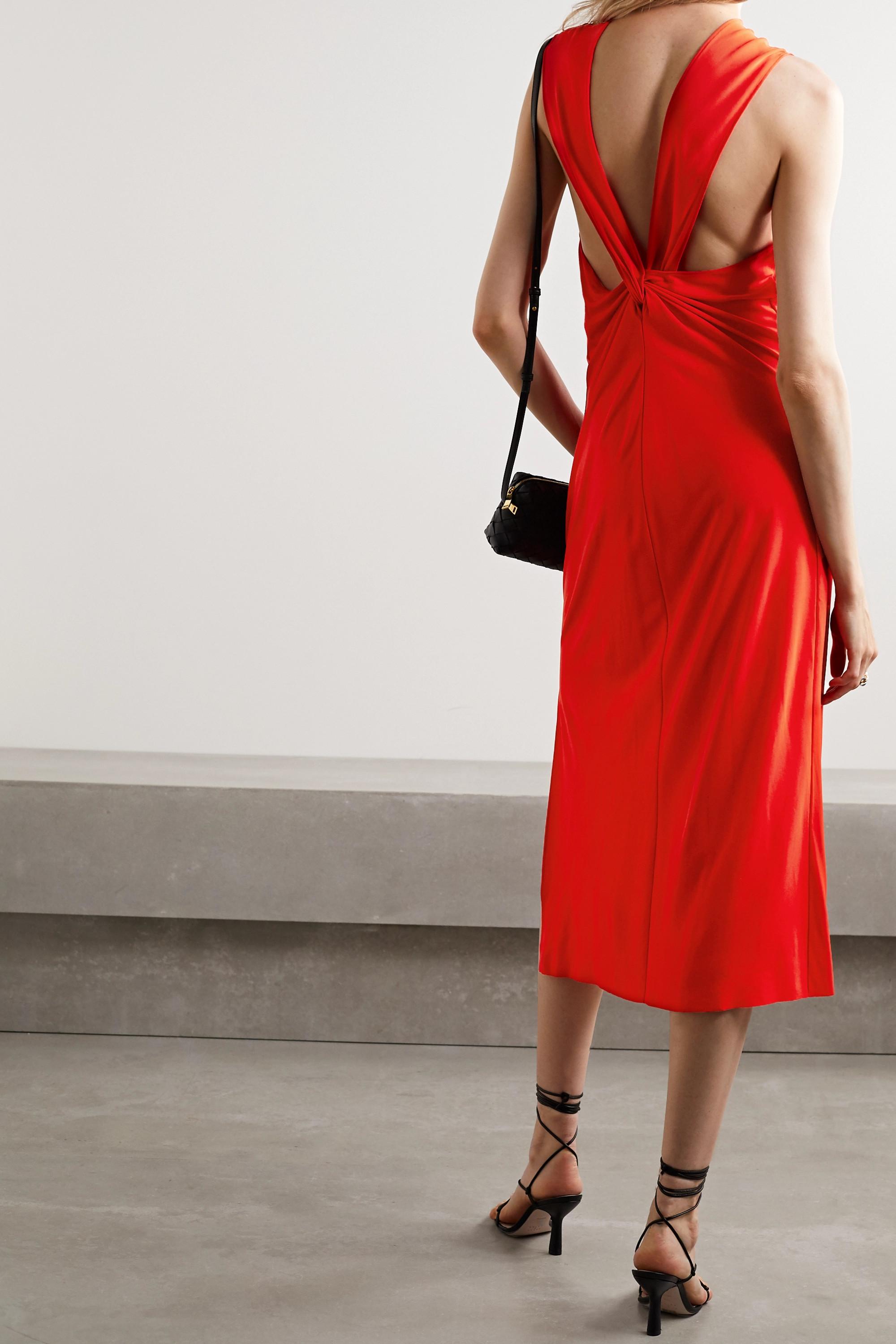 Helmut Lang Twist-back stretch-crepe midi dress