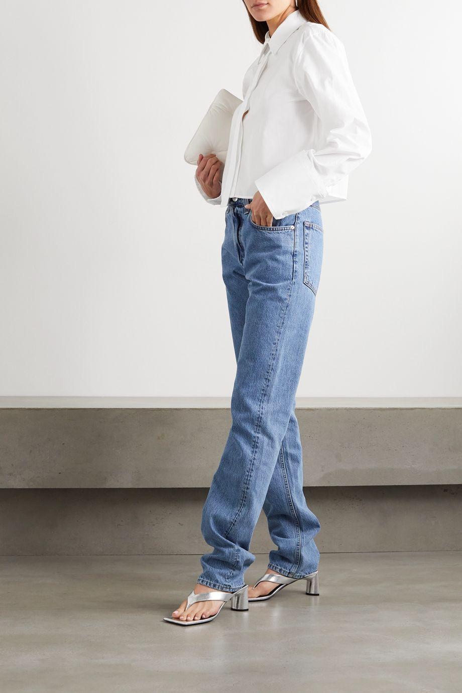 Helmut Lang Verkürztes Hemd aus Baumwollpopeline mit Falten