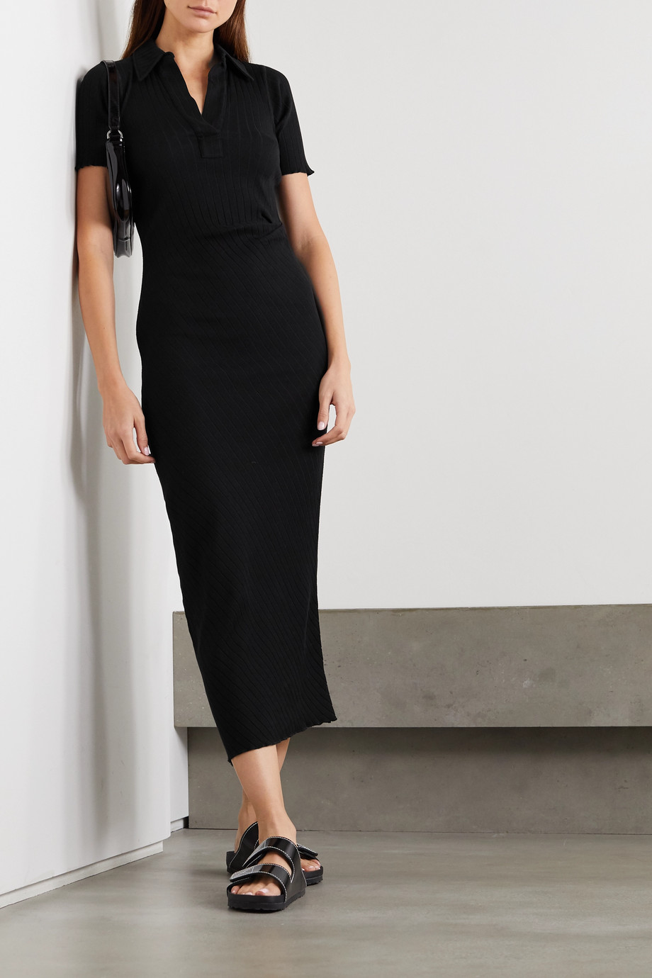 Helmut Lang Ribbed cotton midi dress