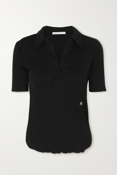 HELMUT LANG RIBBED COTTON POLO SHIRT