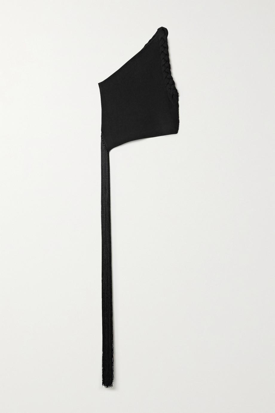 Helmut Lang Haut asymétrique en mailles côtelées à finitions tressées et à franges