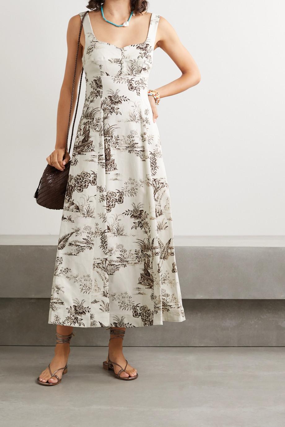NICHOLAS Kiki Midikleid aus Twill aus Stretch-Baumwolle mit Blumenprint
