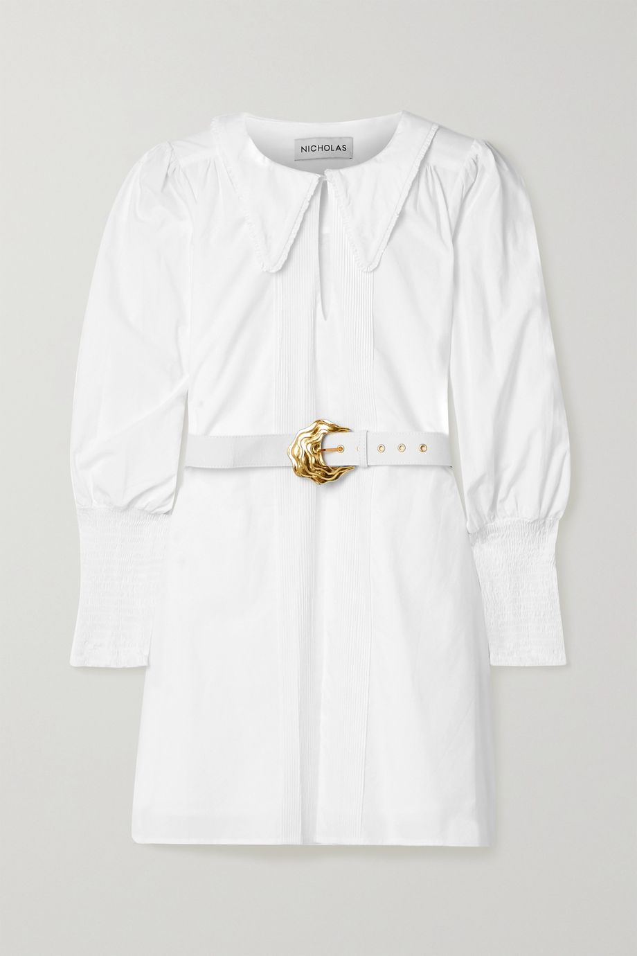 NICHOLAS Bella belted shirred cotton-poplin mini shirt dress