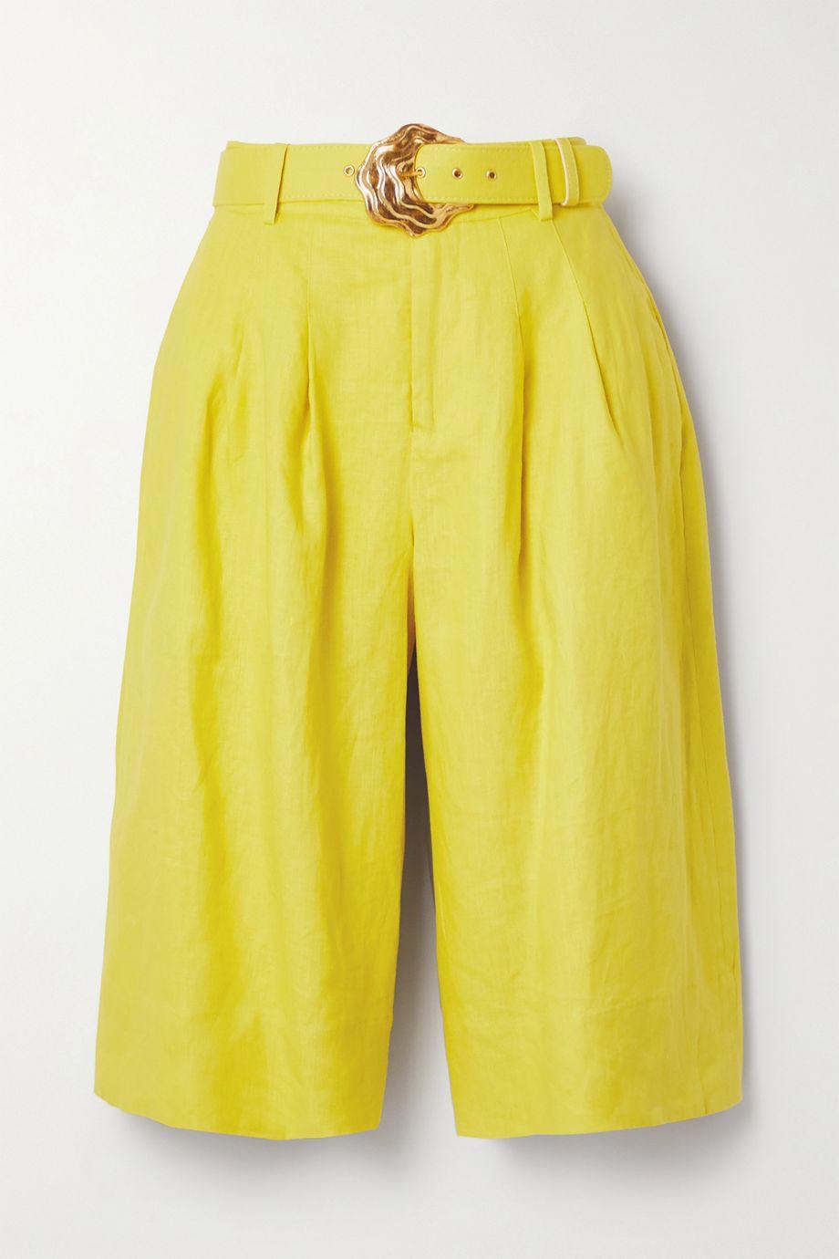 NICHOLAS Clara belted linen shorts